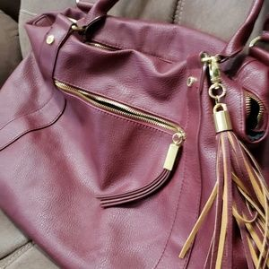 Burgundy wine colored leather large bag